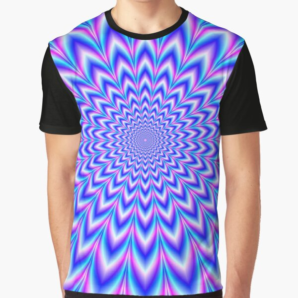 Psychedelic Pulse in Blue and Pink Graphic T-Shirt
