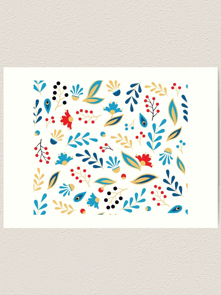 Alternate view of Folk Leaves and Flowers Bright Art Print