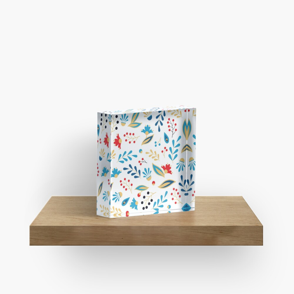 Folk Leaves and Flowers Bright Acrylic Block