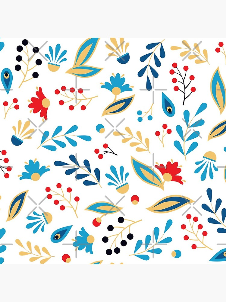 Folk Leaves and Flowers Bright by nadyanadya
