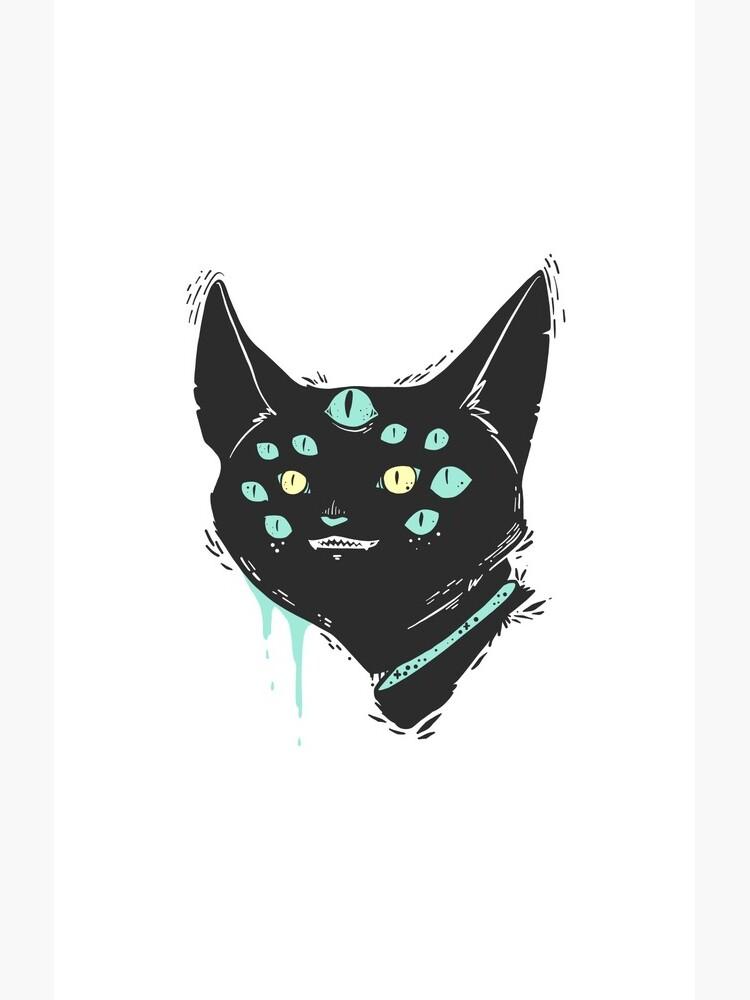 Strange Weird Many Eyed Cat Creature, Goth Artwork by cellsdividing