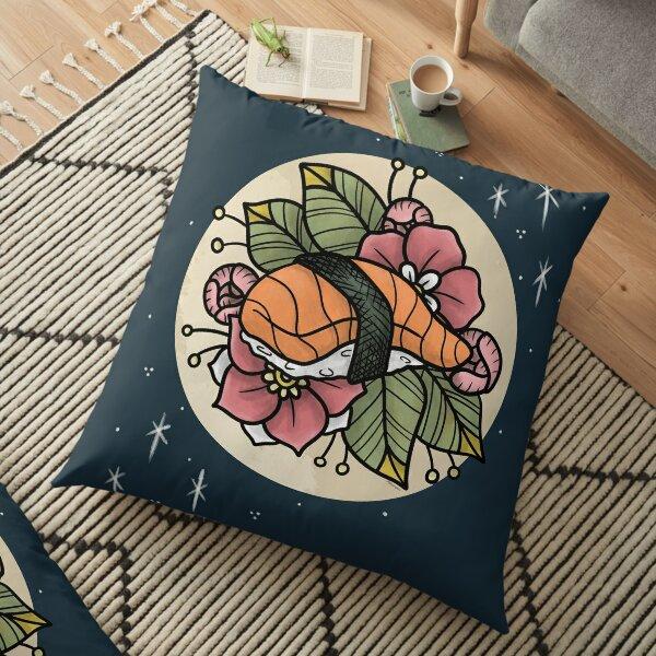 Nigiri Sushi with Flowers Floor Pillow