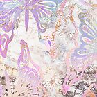Pastel Holographic Butterflies with Gold Ornaments on Marble by cadinera