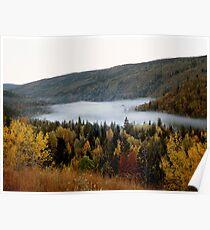 Morning Mist in Fall, Wells Gray Provincial Park, Alberta, Canada Poster