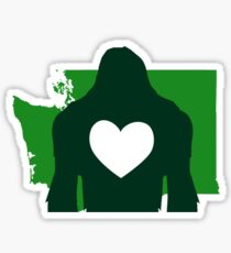 I heart Bigfoot & Washington state Sticker