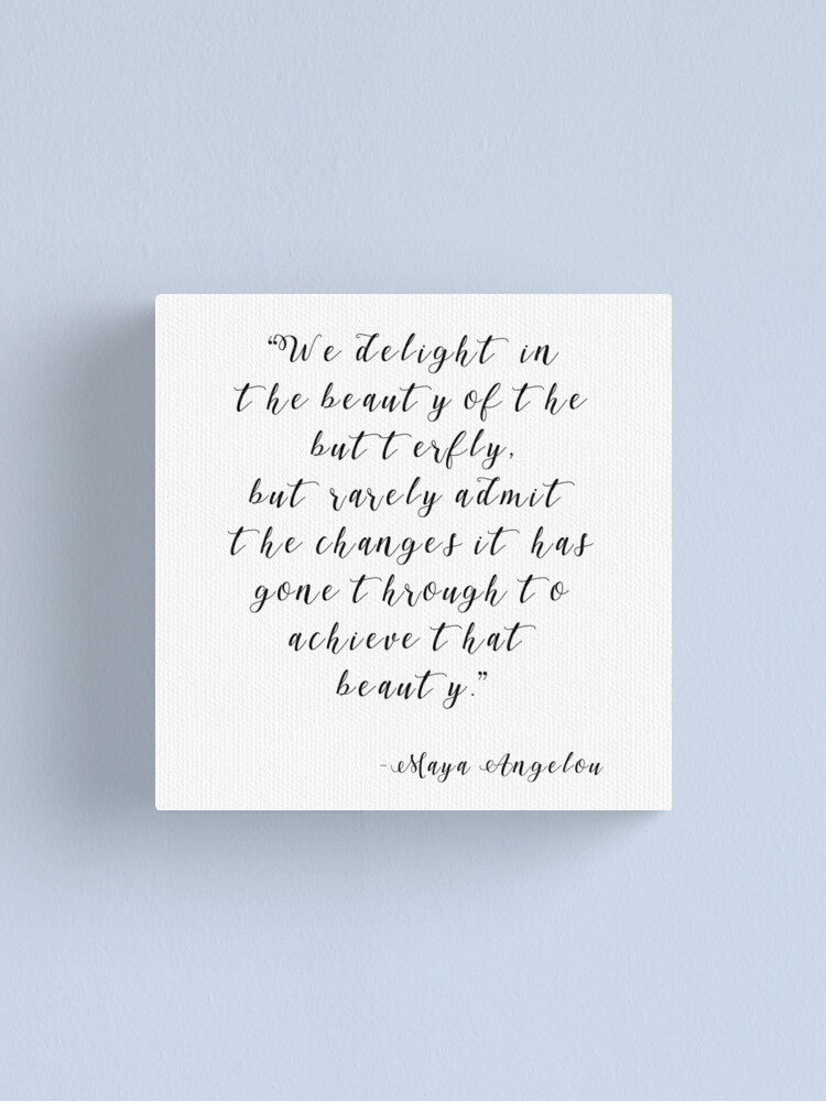 Alternate view of Maya Angelou Changes Quote Print, Black and White Typography  Canvas Print