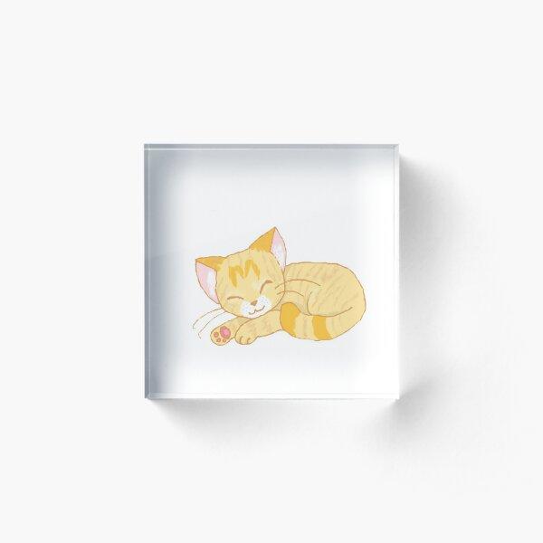 Sleepy Cream Tabby Acrylic Block