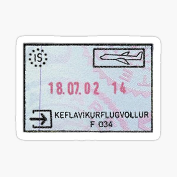 Iceland Passport Stamp Sticker