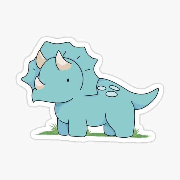Blue Triceratops Sticker