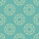 Blue Green Floral Blossoms by Zehda