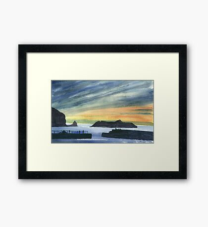 Sunset at Mullion Cove, Cornwall Framed Print
