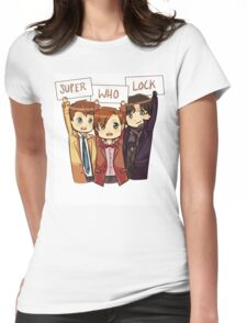 Chibi SuperWhoLock Womens Fitted T-Shirt