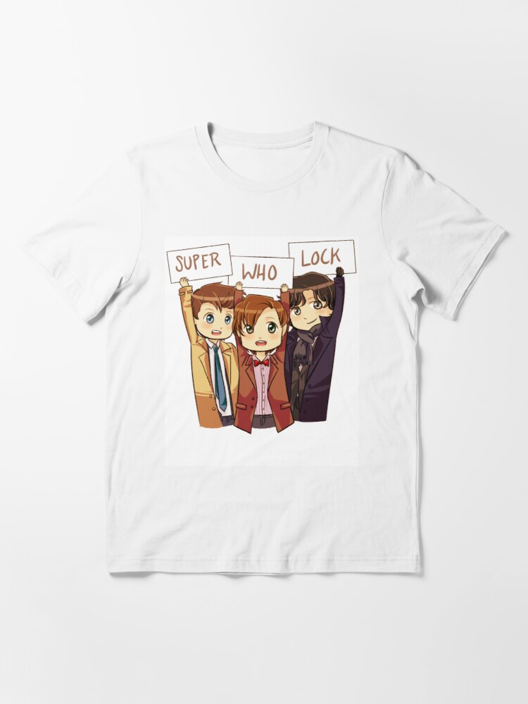 Alternate view of Chibi SuperWhoLock Essential T-Shirt