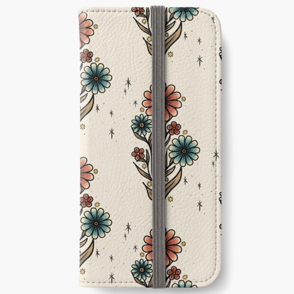 Blue and Orange Flowers iPhone Wallet