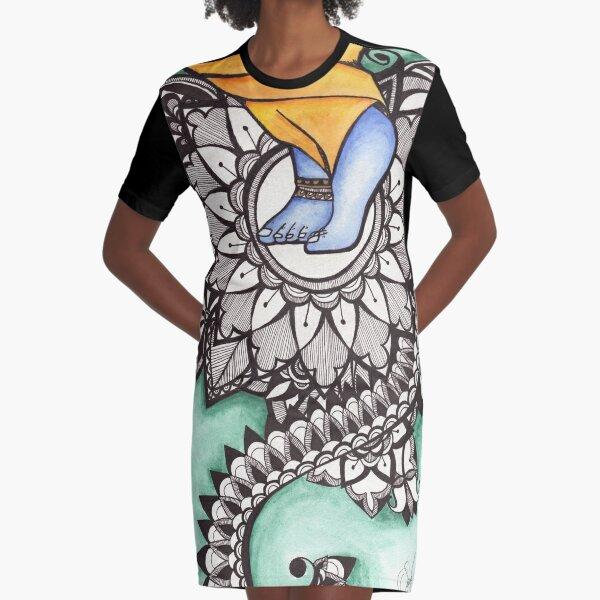 Lotus Feet Graphic T-Shirt Dress