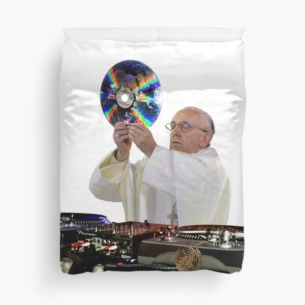 DJ Earth Pope Francis, EDM Holy Father Duvet Cover