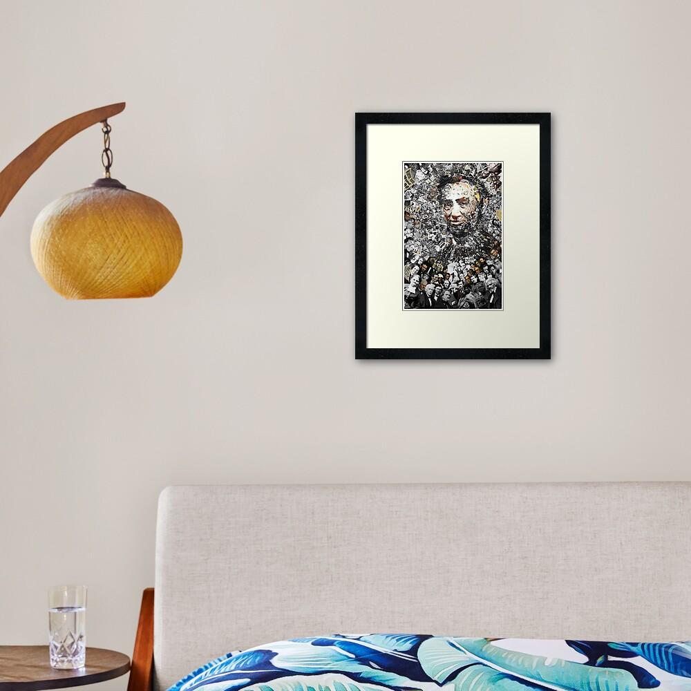 "Title: ""Rendering Myself Worthy"" Abe Lincoln, Slavery, Civil War Meta Collage Framed Art Print"