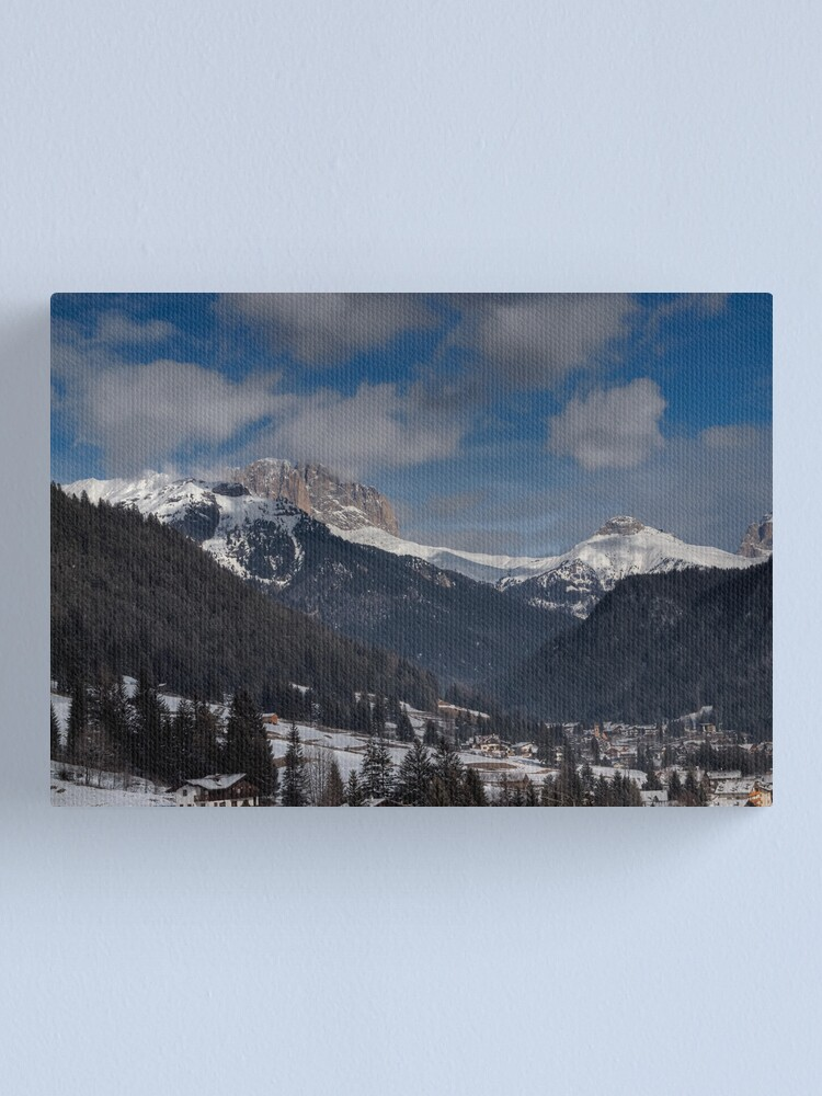 Alternate view of Panoramic view of Sassolungo from  Pozza di Fassa Canvas Print