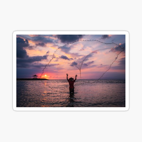 Bali Sunrise Fisherman Sticker