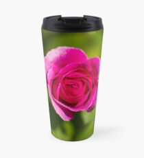 A Single Magenta Rose Amidst the Green Travel Mug