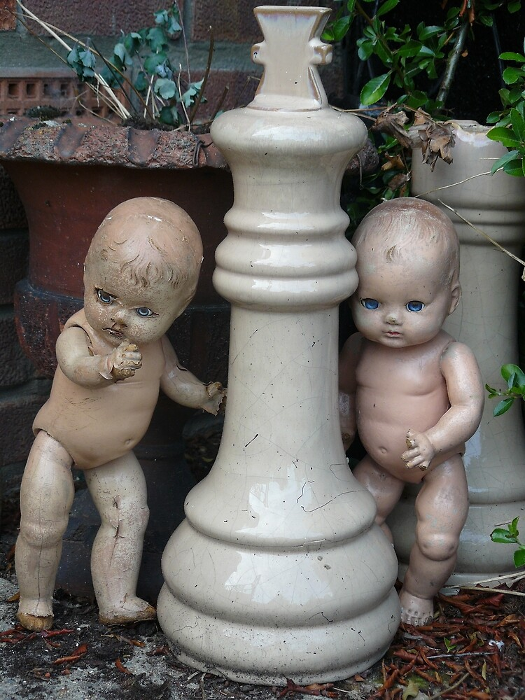 Old dolls playing hide and seek. by delly1984