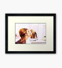 Shy Orange Furry Feline Framed Print