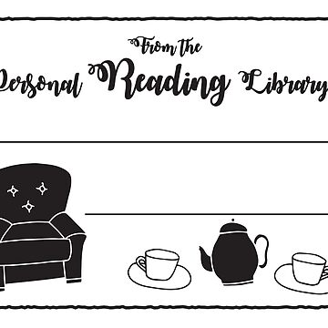 From the personal reading library of: Book plate with couch and tea cups by jazzydevil