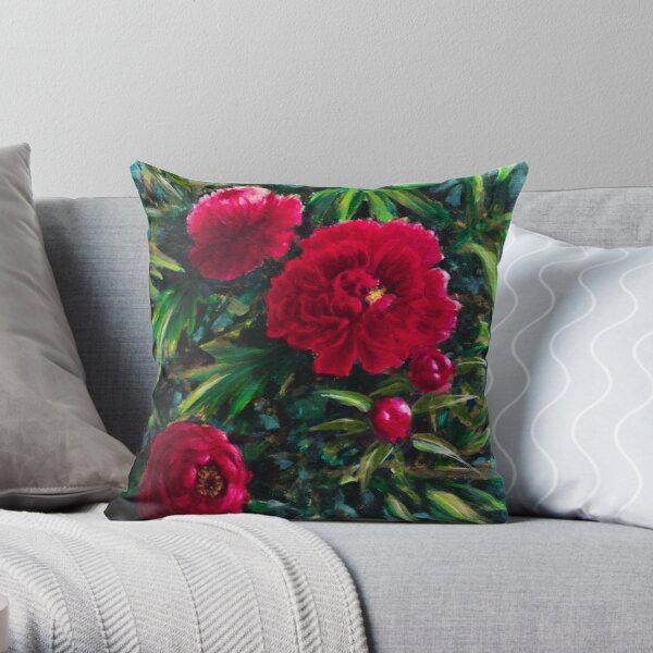 Red peonies Coussin