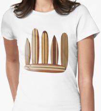 Camiseta entallada para mujer Tablas de surf de madera vintage 0b4bee6a674