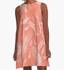 Living coral with flying white feathers A-Line Dress