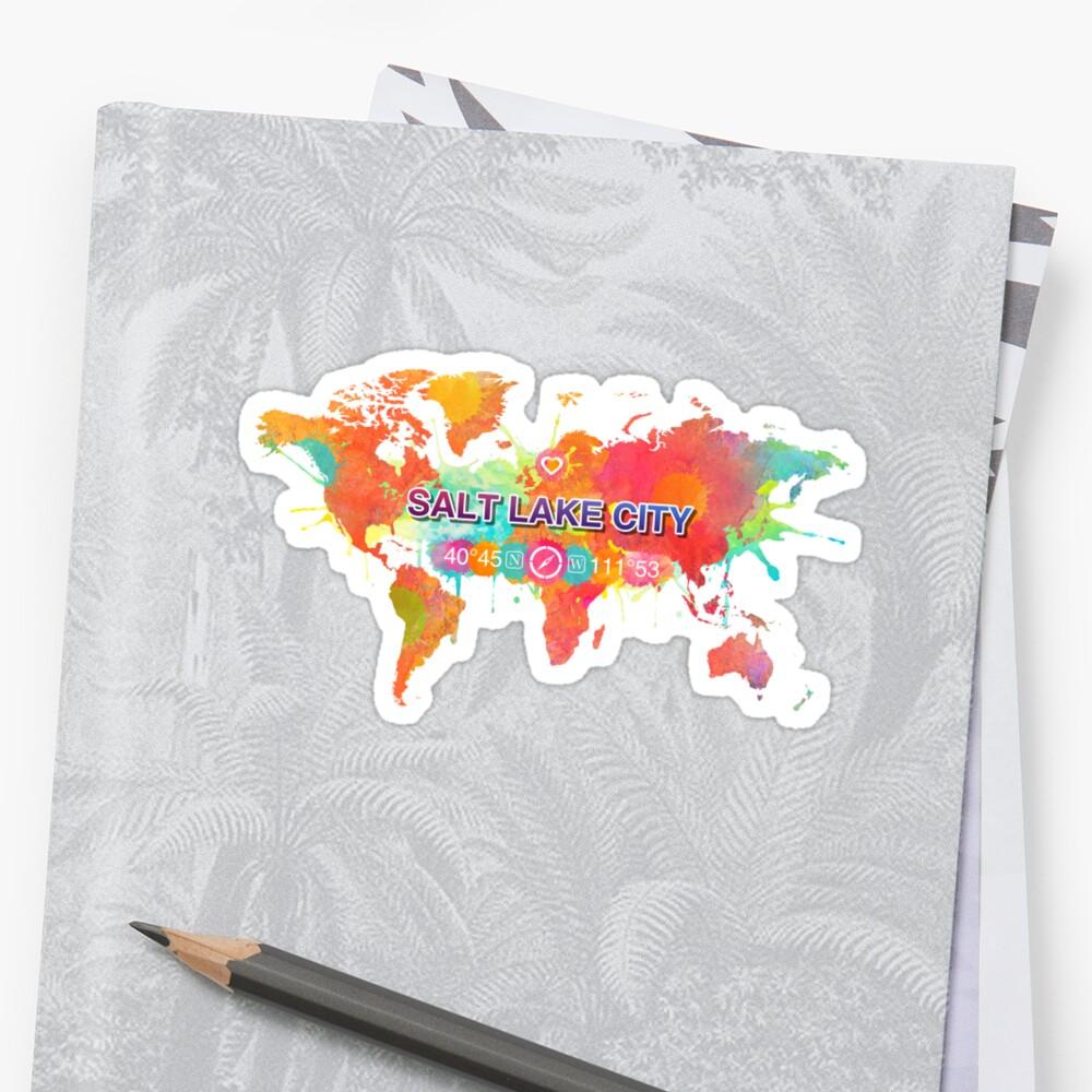 Vivid Watercolor Salt Lake City Utah Map Gps Coordinates Artwork