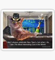 The Most Interesting Cat New Year's Sticker