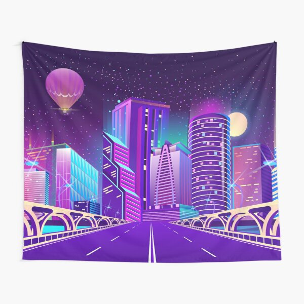 Neon City by Night Tapestry