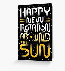 Tarjeta de felicitación Feliz nueva rotación alrededor del sol