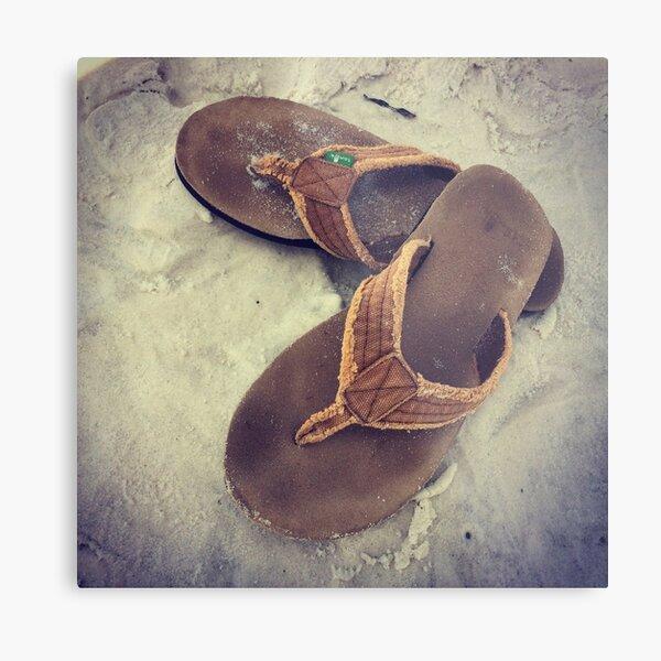 Flip Flops on the Sand Metal Print