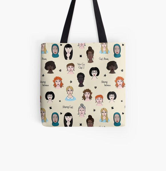Seamless repeat pattern with girls of the world All Over Print Tote Bag