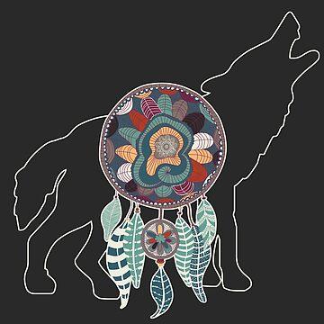 Wolf Native American Animal Spirit Dreamcatcher by SalonOfArt