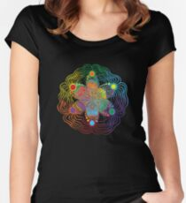 Six Color Red-Orange-Yellow-Green-Blue-Purple Women's Fitted Scoop T-Shirt
