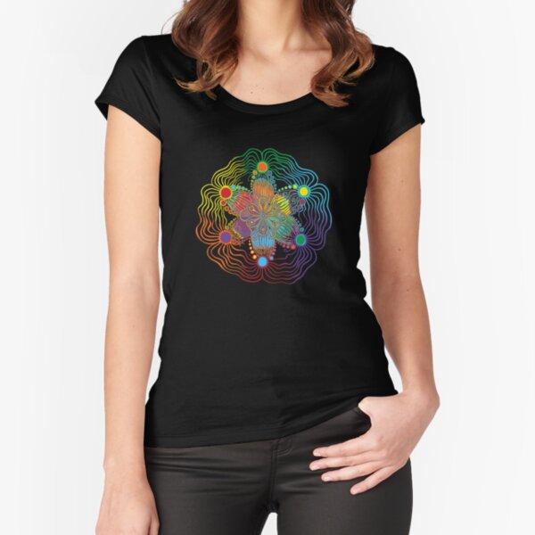 Six Color Red-Orange-Yellow-Green-Blue-Purple Fitted Scoop T-Shirt