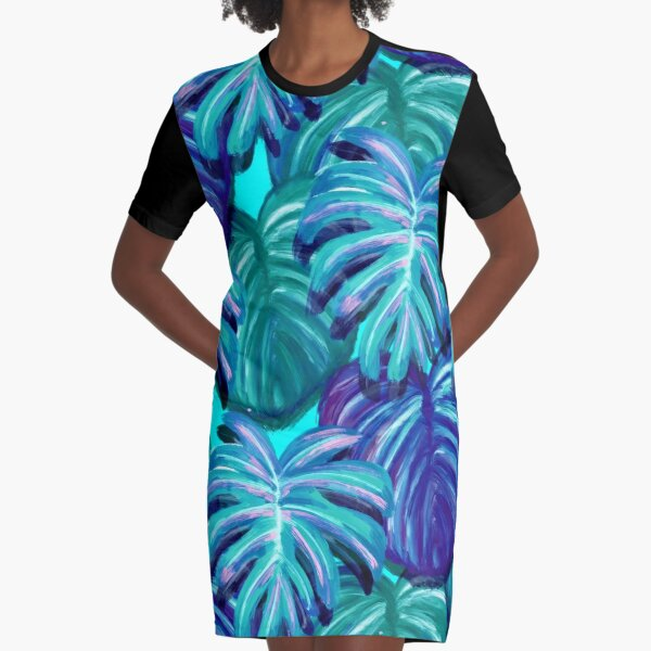 Palm Springs Neon Party Pattern Graphic T-Shirt Dress
