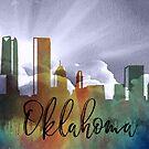 Oklahoma | Stadt Skyline | Buntes Aquarell von PraiseQuotes