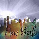 New York | Stadt Skyline | Buntes Aquarell von PraiseQuotes