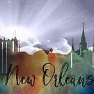 New Orleans | Stadt Skyline | Buntes Aquarell von PraiseQuotes