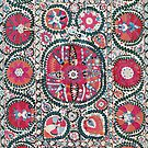 Large Medallion Bokhara Suzani  Antique Uzbekistan Embroidery by Vicky Brago-Mitchell