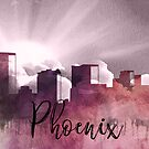 Phoenix | Stadt Skyline | Buntes Aquarell von PraiseQuotes