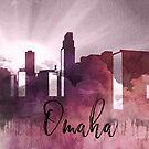 Omaha | Stadt Skyline | Buntes Aquarell von PraiseQuotes