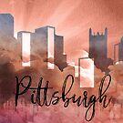 Pittsburgh | Stadt Skyline | Buntes Aquarell von PraiseQuotes