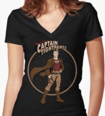 Captain Tightpants Women's Fitted V-Neck T-Shirt