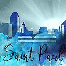 Saint Paul | Stadt Skyline | Buntes Aquarell von PraiseQuotes