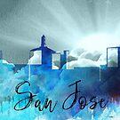 San Jose | Stadt Skyline | Buntes Aquarell von PraiseQuotes